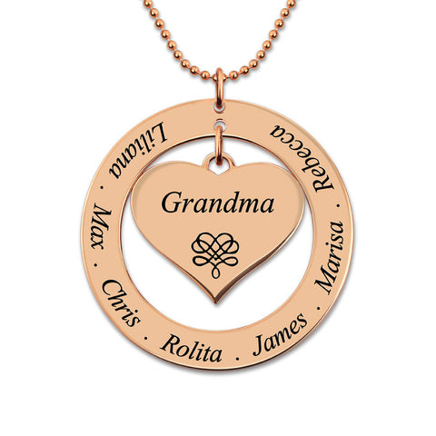 Personalized Engraved Circle Heart Pendant Necklace