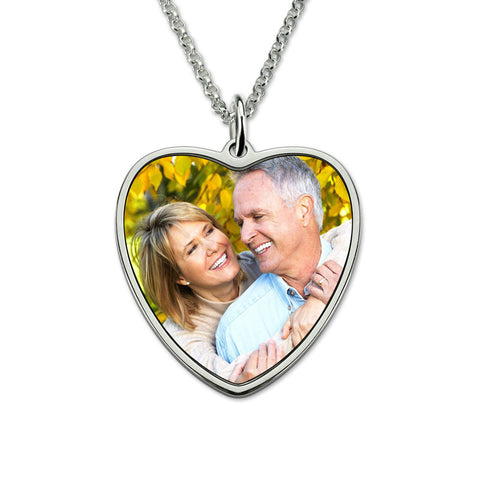 Personalized Heart Color Photo Engraved Stainless Steel Necklace
