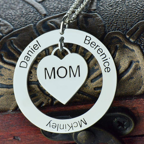 Personalized Moms Heart With Kids Names Necklace