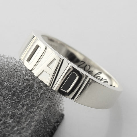 Sterling Silver Personalized Men's DAD Handmade Ring