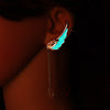 Glow In The Dark Diamante Wings Feather Earrings