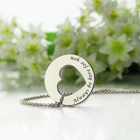Personalized Disc Heart Promise Silver Necklace