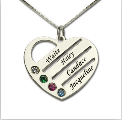 Family With Kids Names Engraved Heart Necklace Gift For Mom