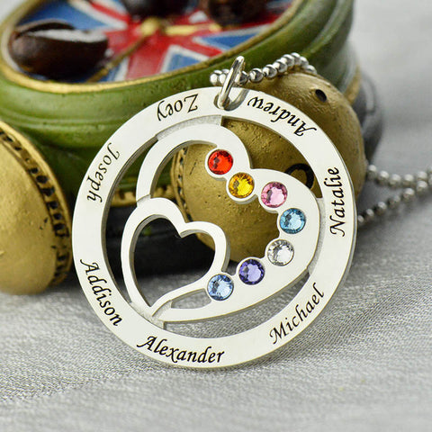 Personalized Family Name Heart In Heart Birthstone Silver Necklace