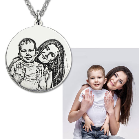 Sterling Silver Personalized Photo Engraved Custom Photo Disc Necklace