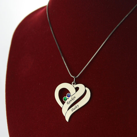 Mother Pendant With Two Name Hearts Necklace With Birthstone Silver Dainty