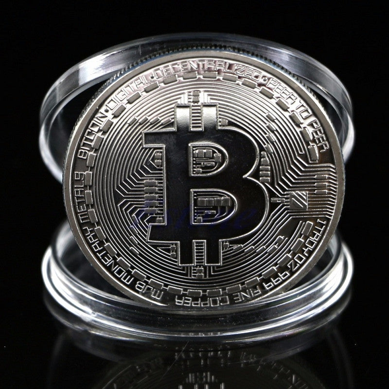 Silver Plated Bitcoin Coin
