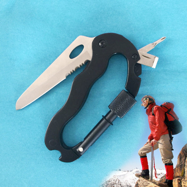 5 In 1 Outdoor Survival Multifunctional Hiking Foldable tool Screwdriver Carabiner Hook keychain