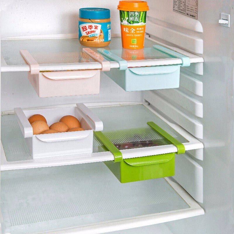 1pc Plastic Refrigerator Storage Rack Pull-out Drawer Space saver
