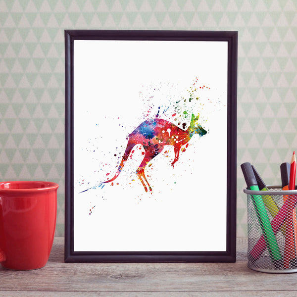 Kangaroo Art Paint Watercolor for Home Decor Wall Hanging Art