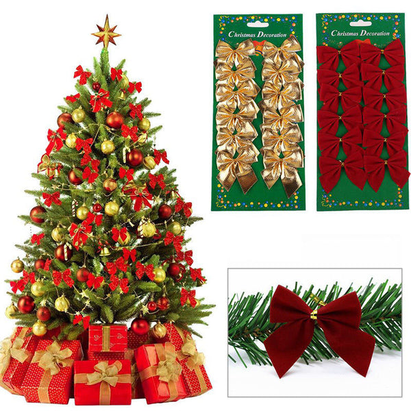 12PC Christmas Tree Bownot Decoration Baubles XMAS Wedding Party Garden Ornament