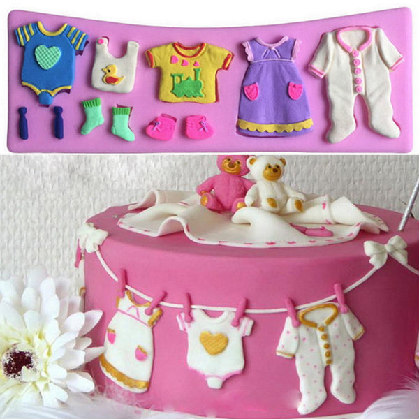 1 PC Pop 3D Baby Clothes Shower Silicone Mold for Chocolate Baking