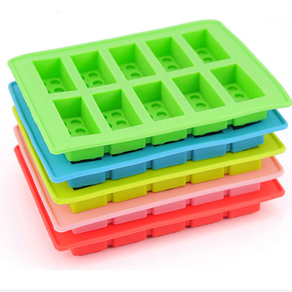 10 Holes Lego Brick Blocks Shaped Rectangular DIY Chocolate Silicone Mold