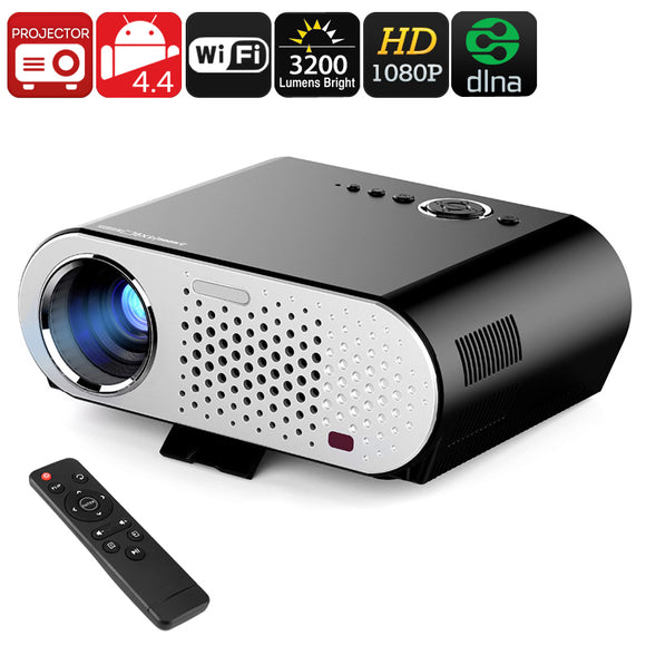 GP90 Movie theater quality 3200 Lumens 1080P HD Projector - Android, Wi-Fi, DLNA, Airplay, Miracast, HD Resolution, 1080P Support, 3200 Lumen, 40 To 280 Inch Image