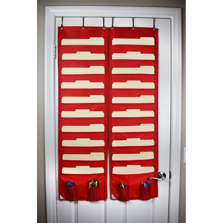 Two Red 10 pocket charts on door