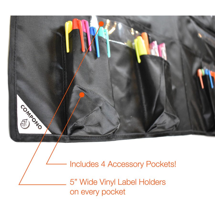 Closeup of pockets on 20 pocket chart black