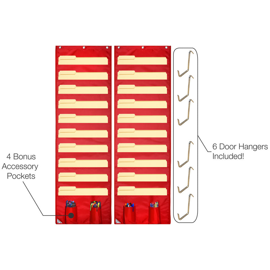 Features of two 10 pocket storage pocket charts