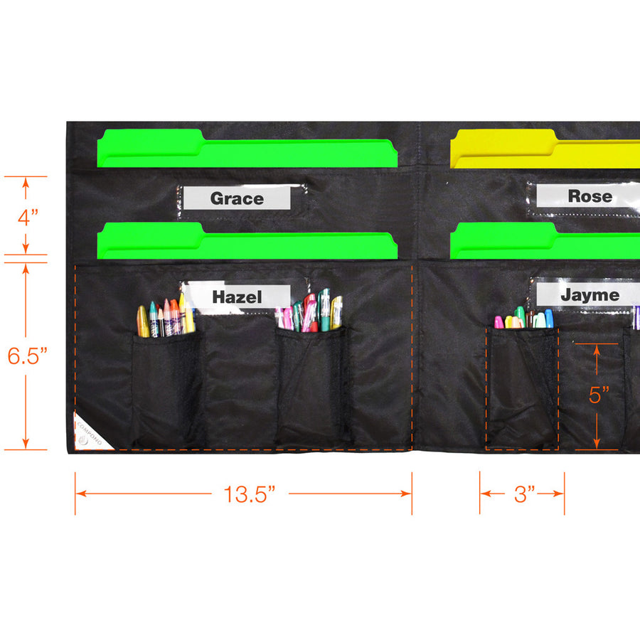 Detailed dimension of black 30 pocket chart