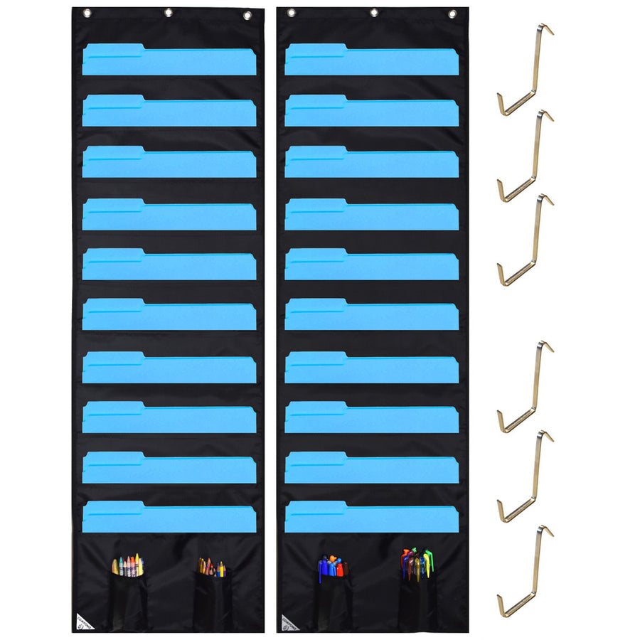 Two Black Storage Pocket Charts
