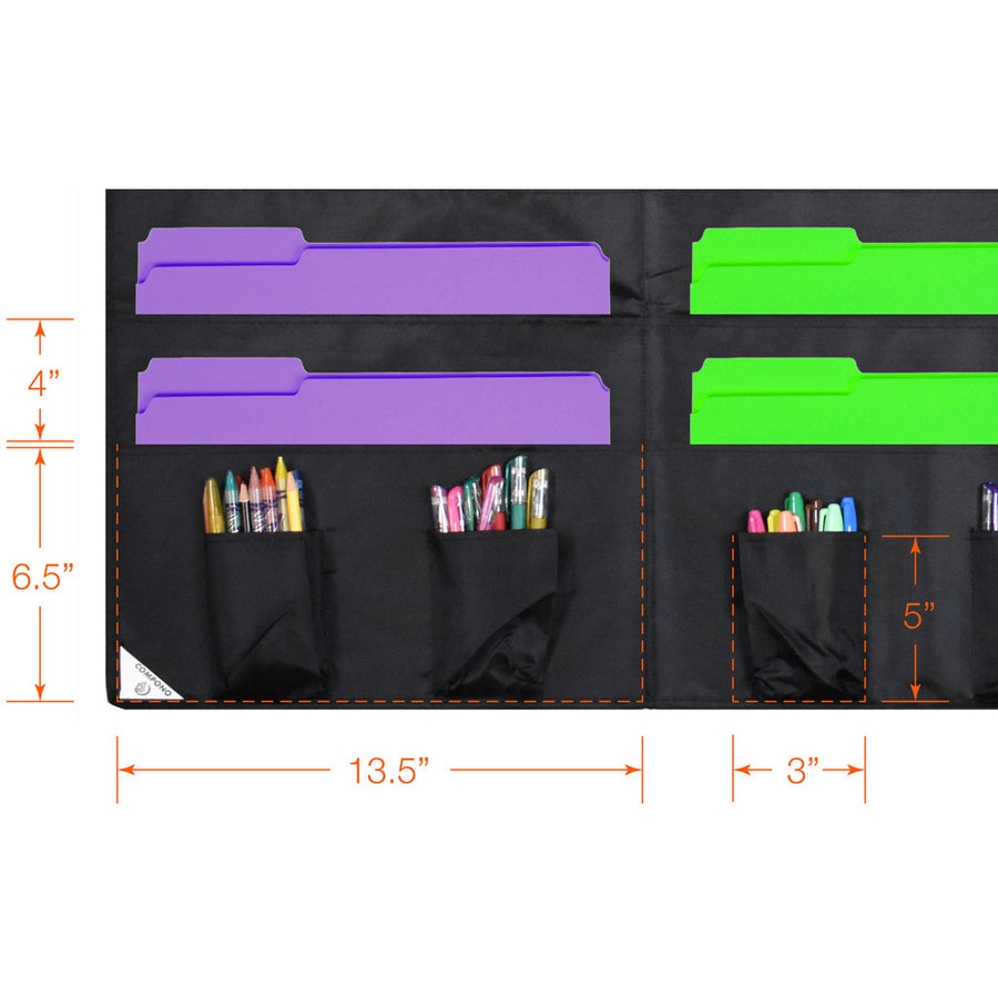 Dimensions of Pockets on 30 pocket chart black