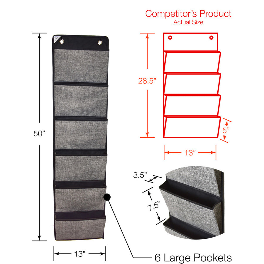 Dimensional comparison for black hanging office organizer