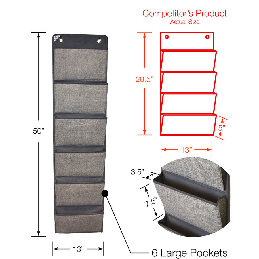 Dimensional comparison for grey over door office organizer