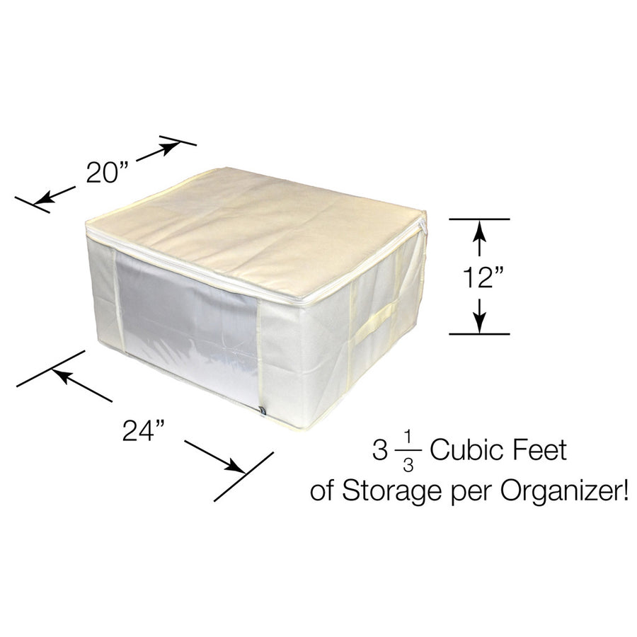 Dimensions of cream color storage bin