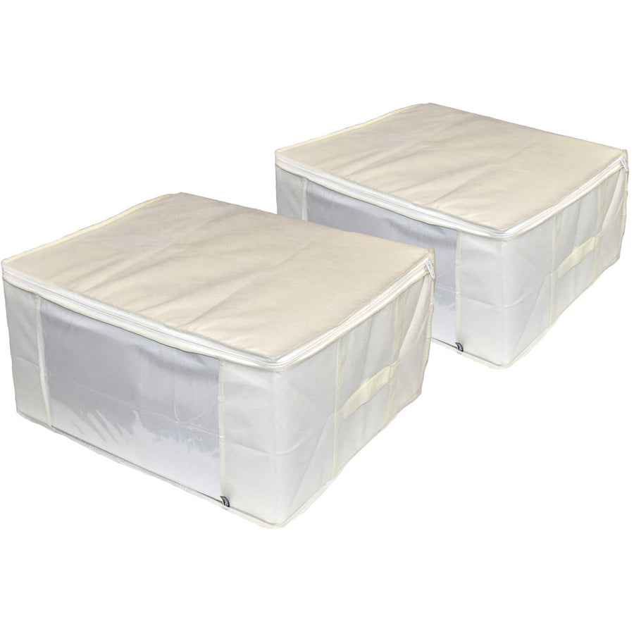 Two cream color storage bags for blankets home goods