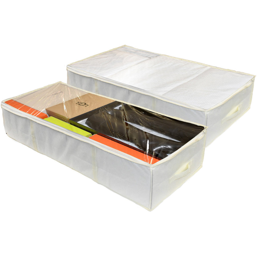 Two underbed storage organizer containers in cream color