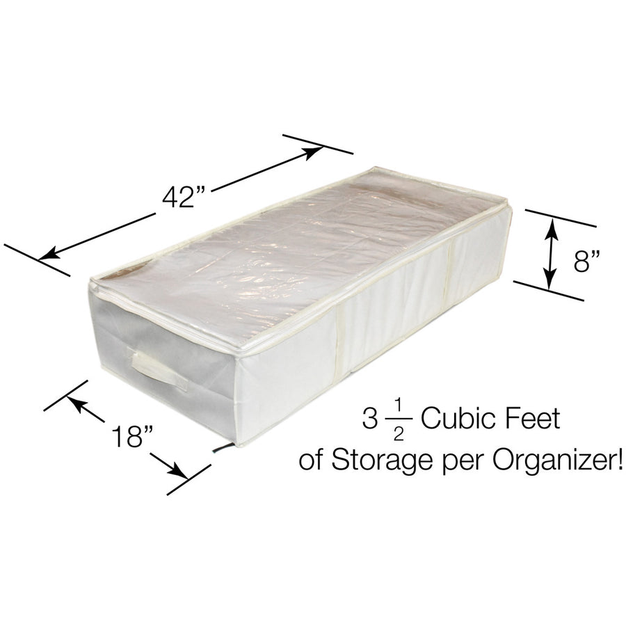 Dimensions of cream colored under bed boot organizer