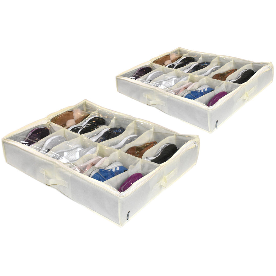 Two 12 pair cream color white shoe organizer under bed