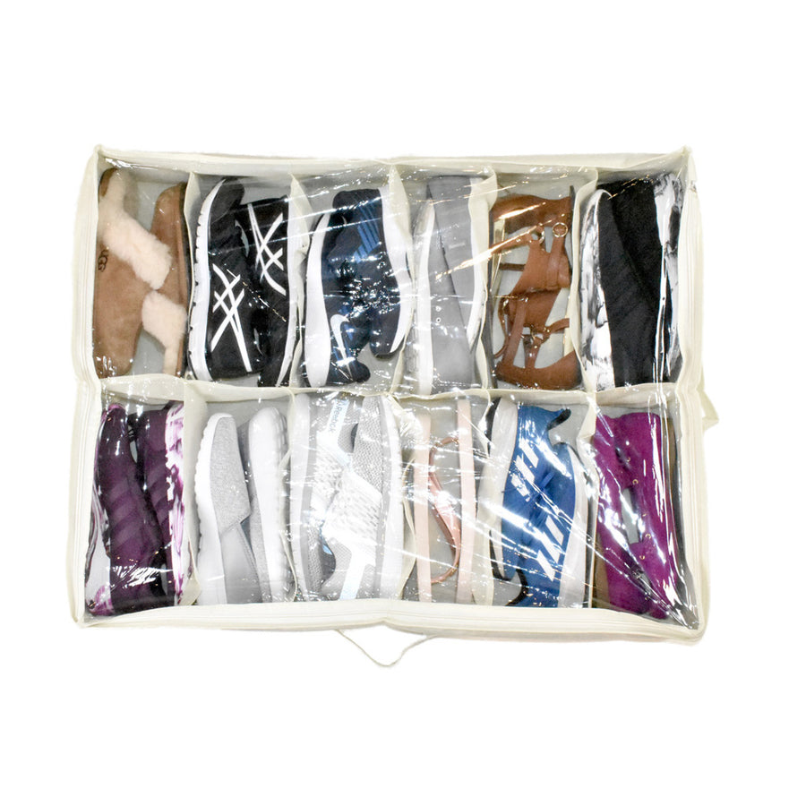 top view of white underbed shoe organizer with 12 pair of shoes