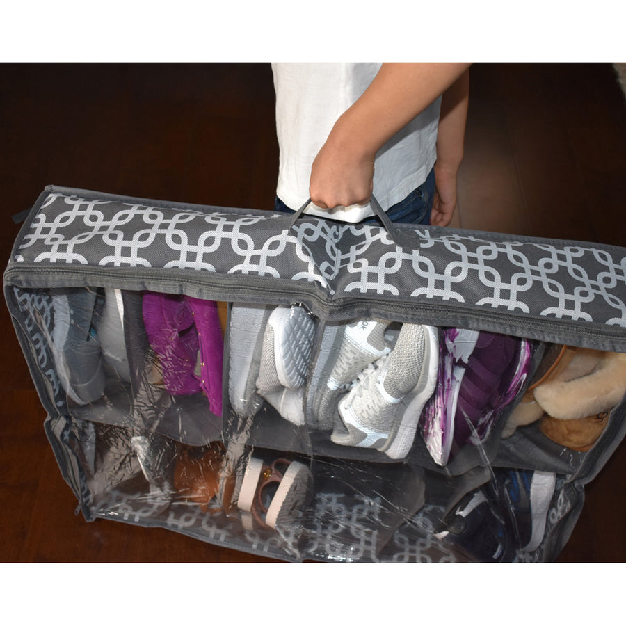 Holding a shoe organizer full of shoes