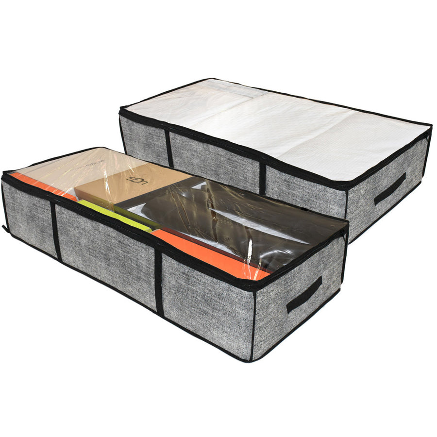 Two grey under bed organizer containers for home goods