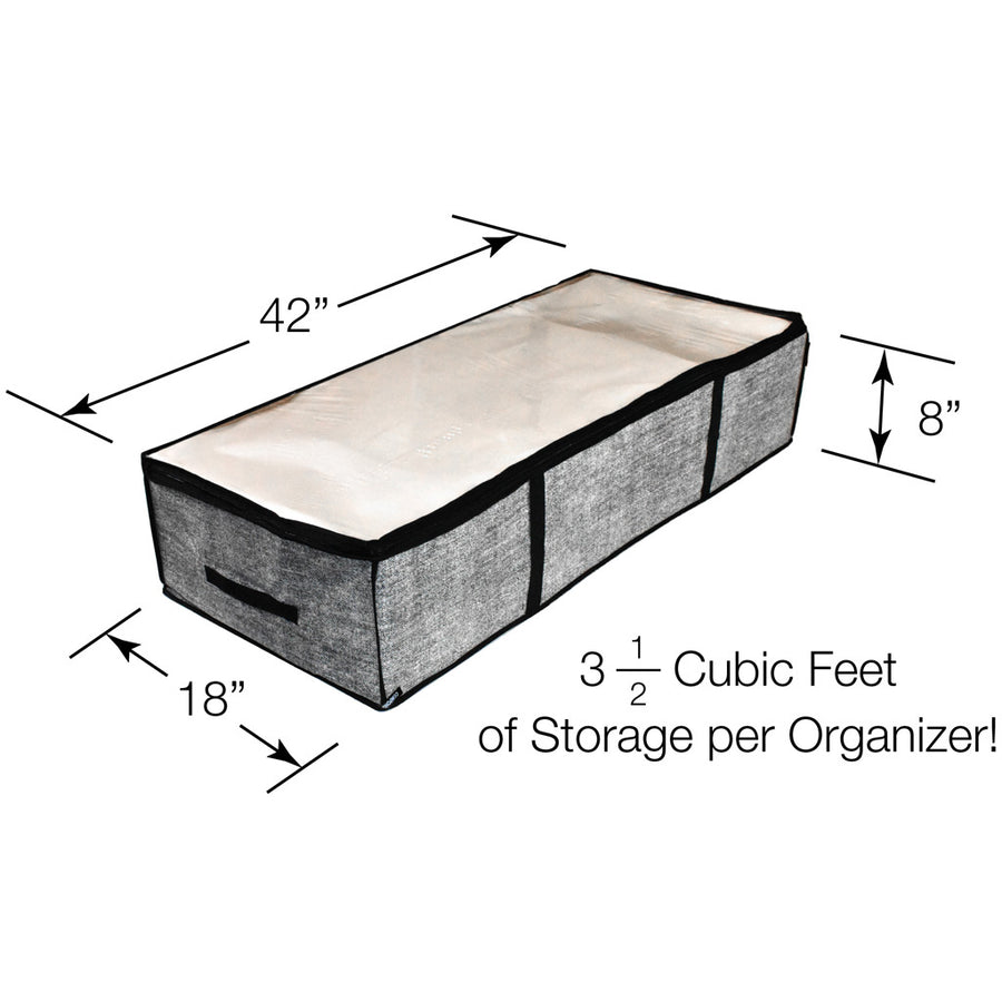 Dimensions of a grey underbed organizer for boots
