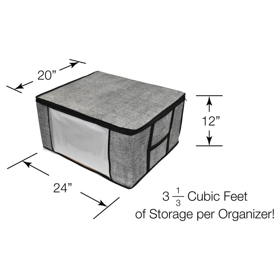 Dimensions of gray storage bag for clothes