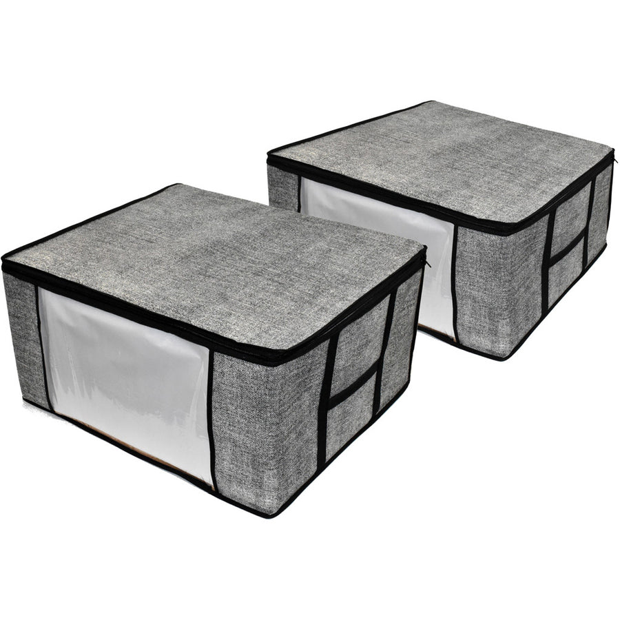 Two gray COMPONO storage bags for closet