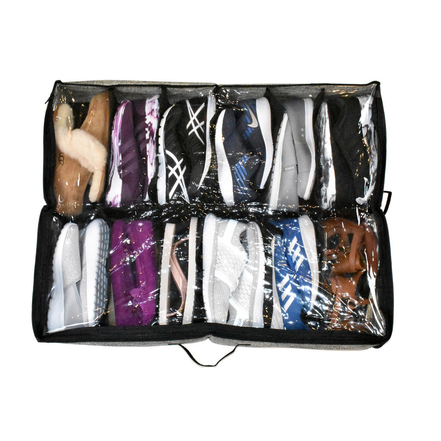 clear top on a shoe organizer under bed with 12 pairs of shoes