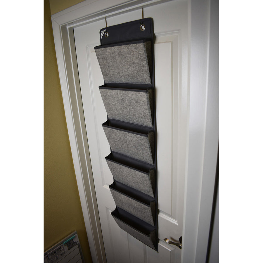 Grey Office Supply Organizer hanging on door