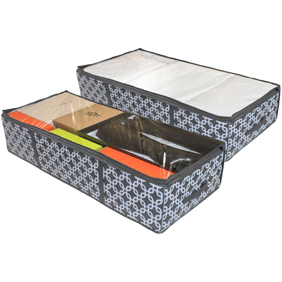 Two pattern under bed storage organizer for blanket