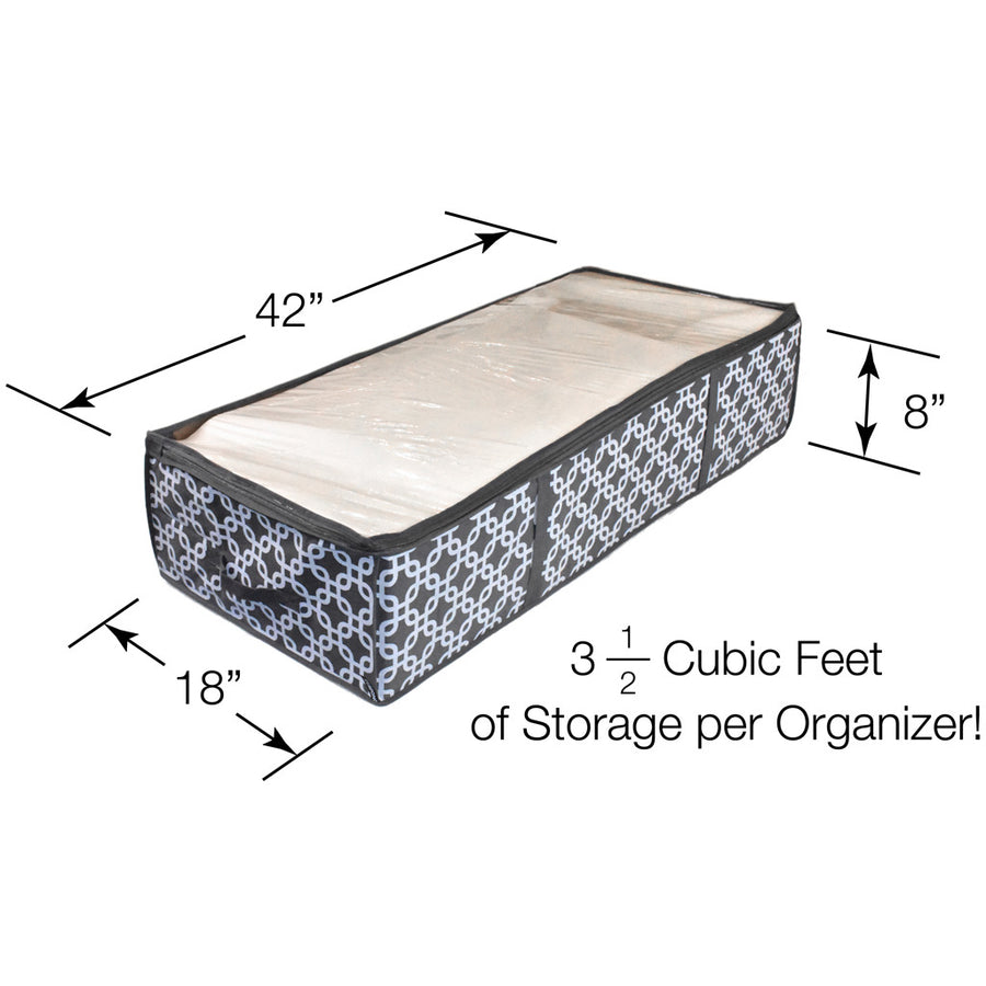 Dimensions of patterned under bed boot organizer