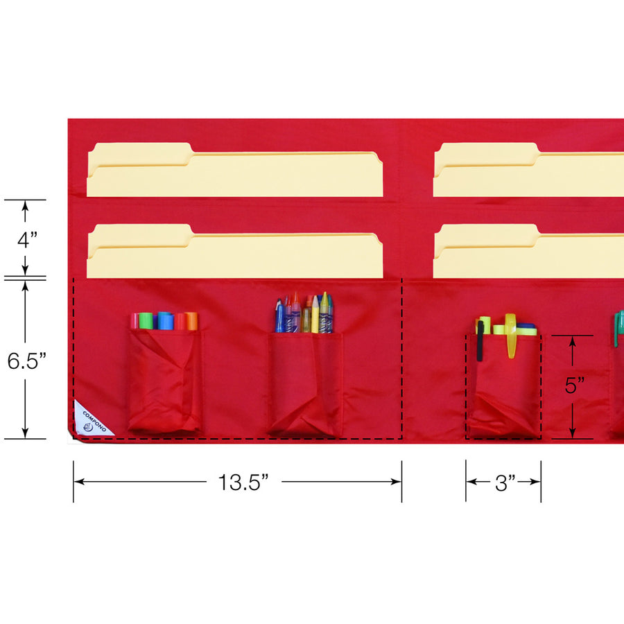 Detailed dimensions of red 30 pocket chart