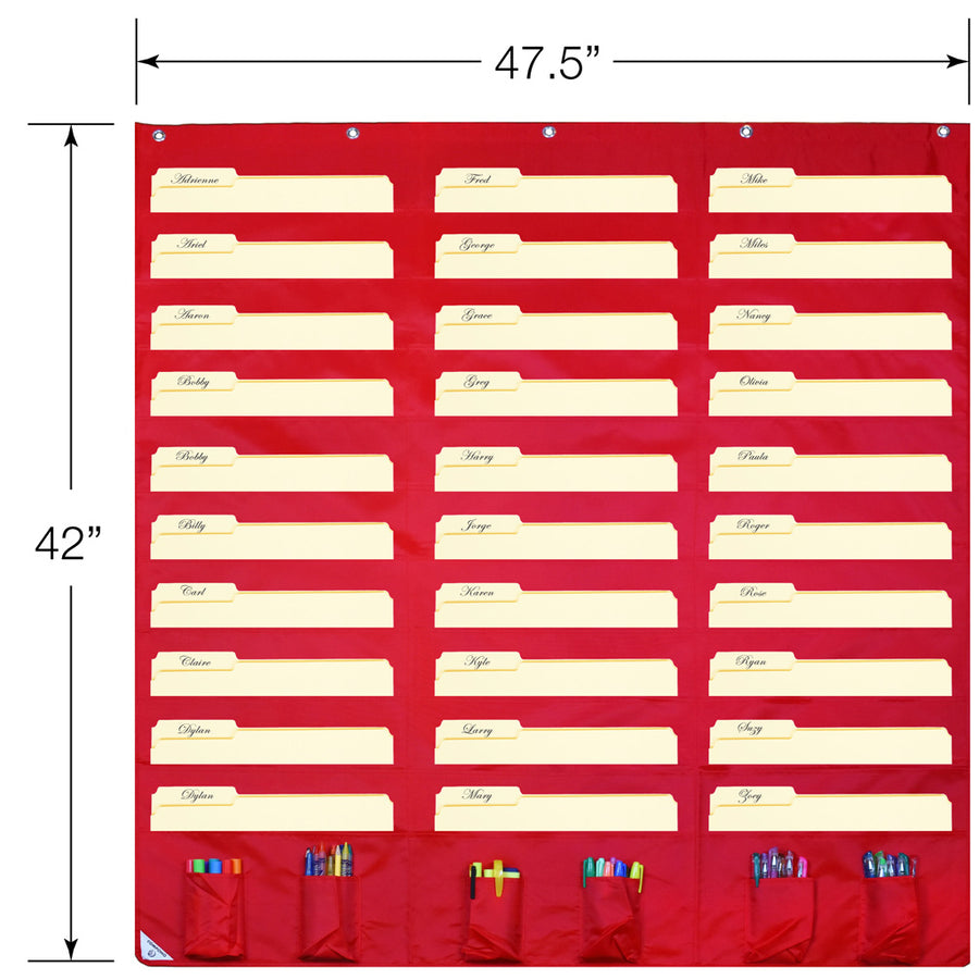 Overall dimensions of red 30 pocket chart