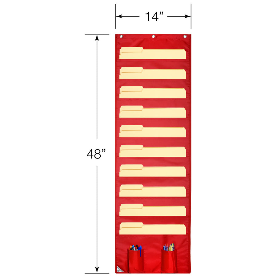 Dimensions for red Wall Storage Pocket Chart File Organizer