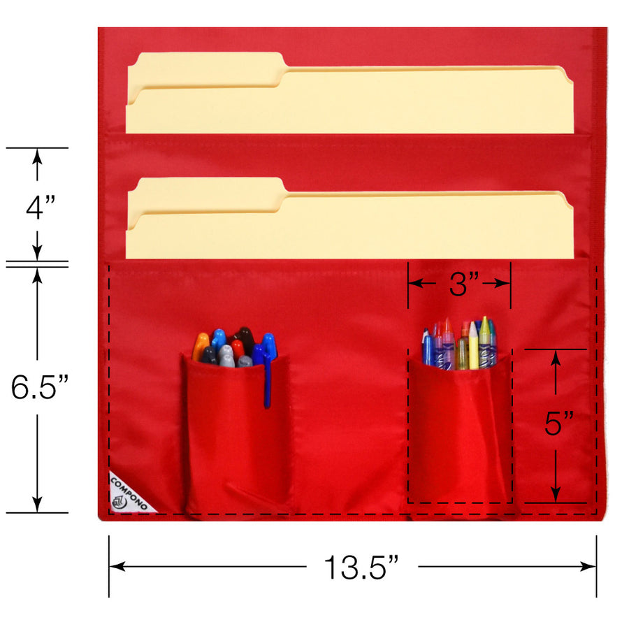 Closeup dimensions of red 10 pocket chart