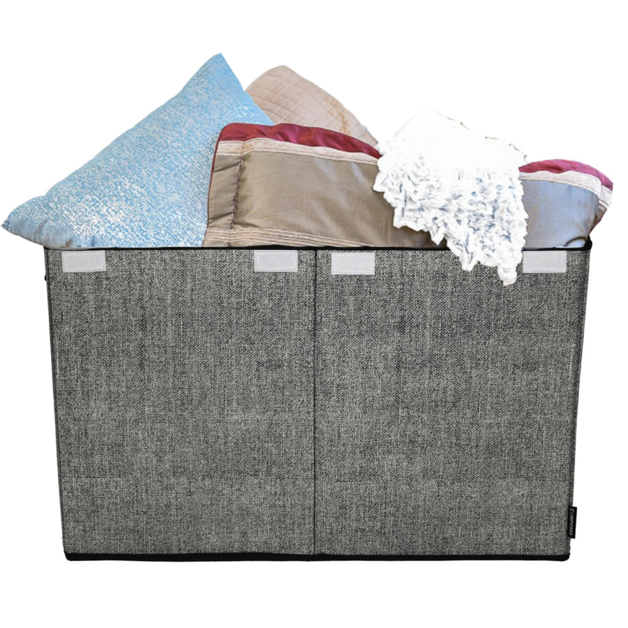 Gray Toy Chest and Storage Box with pillows blankets
