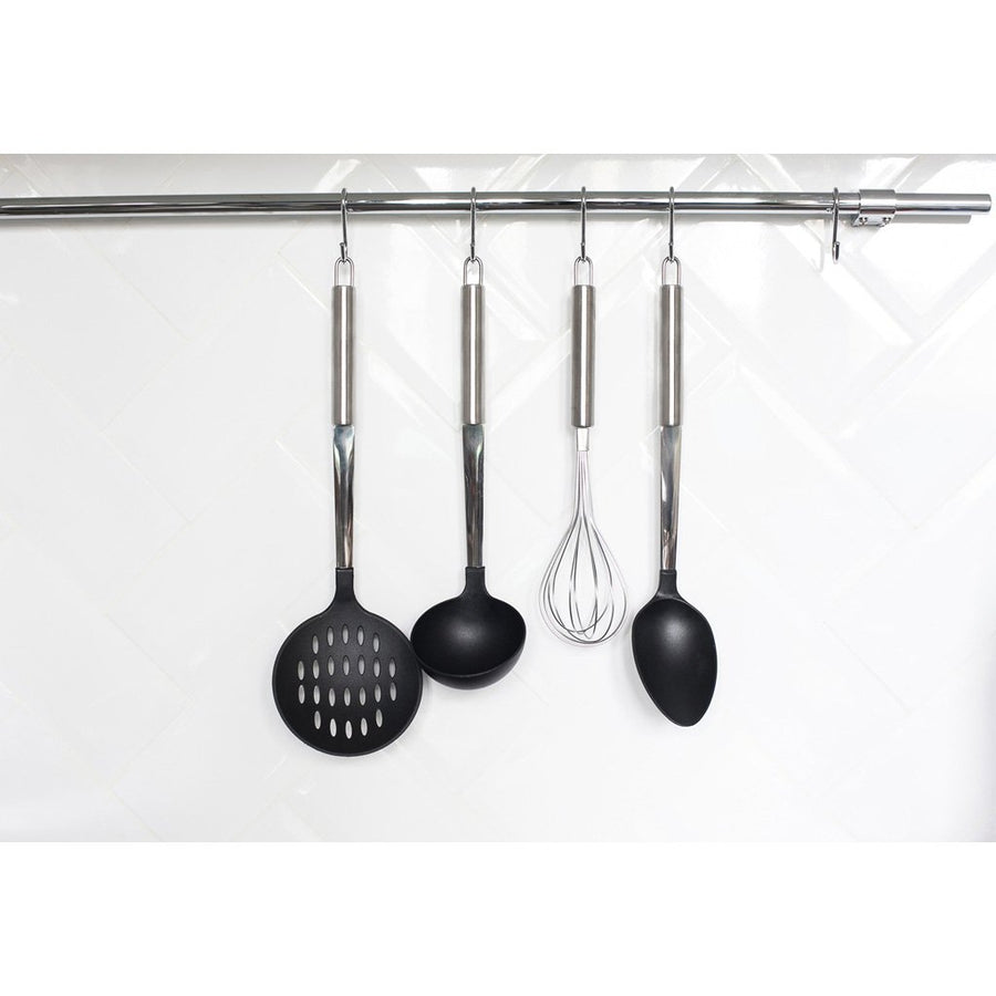 Hooks in use in a kitchen holding utensils rust free
