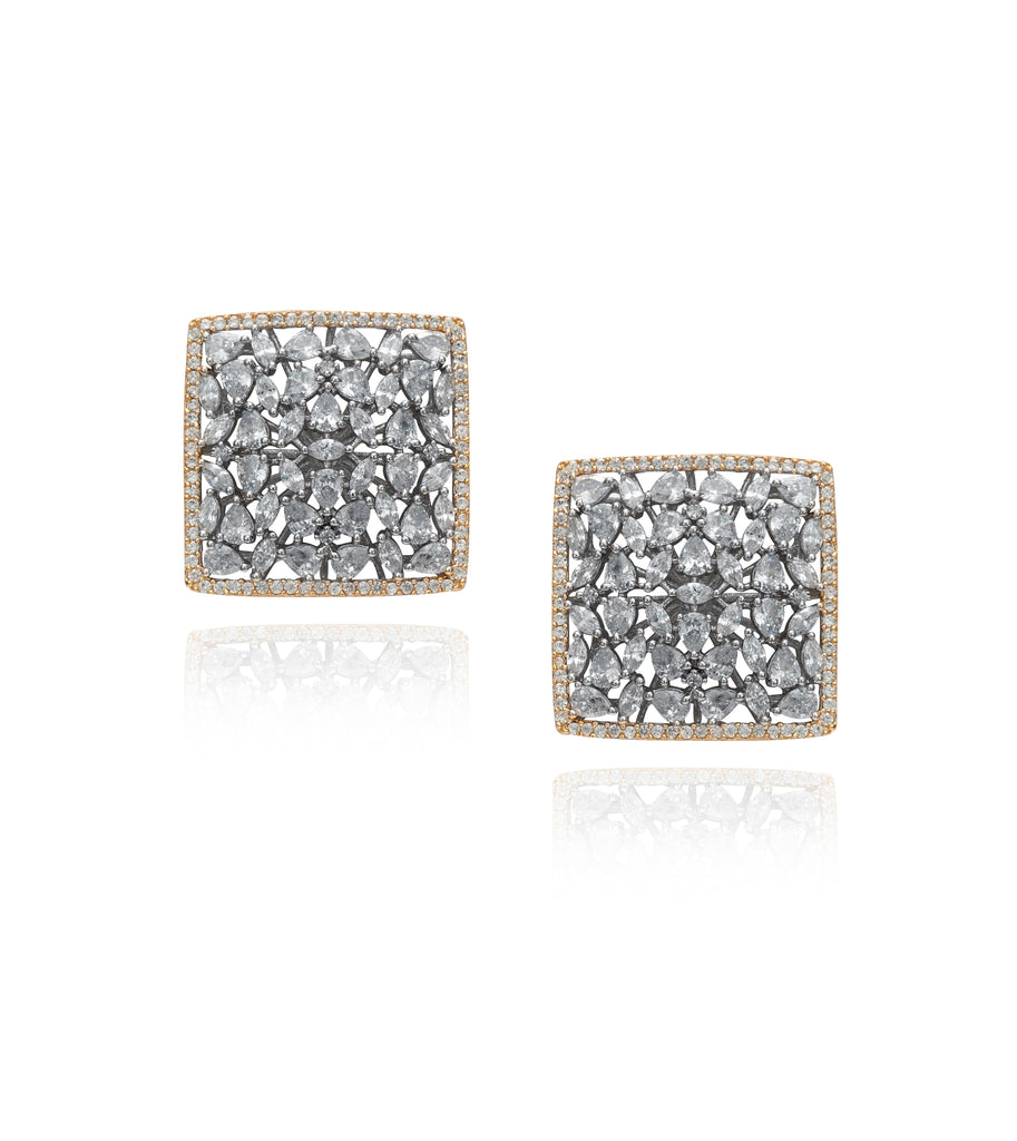 Square Crystal Stud 'Dana' Earrings