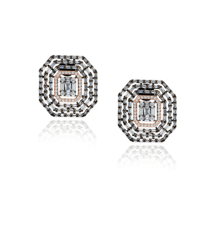 Emerald Cut Bagette Stud 'Desaray' Earrings