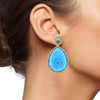 Crystal Blue Rose Cut Drop Earrings